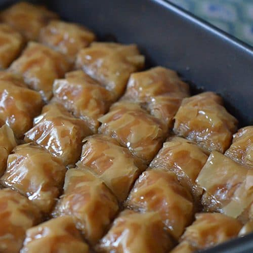 Baklawa pastry with orange blossom syrup, MaureenAbood.com