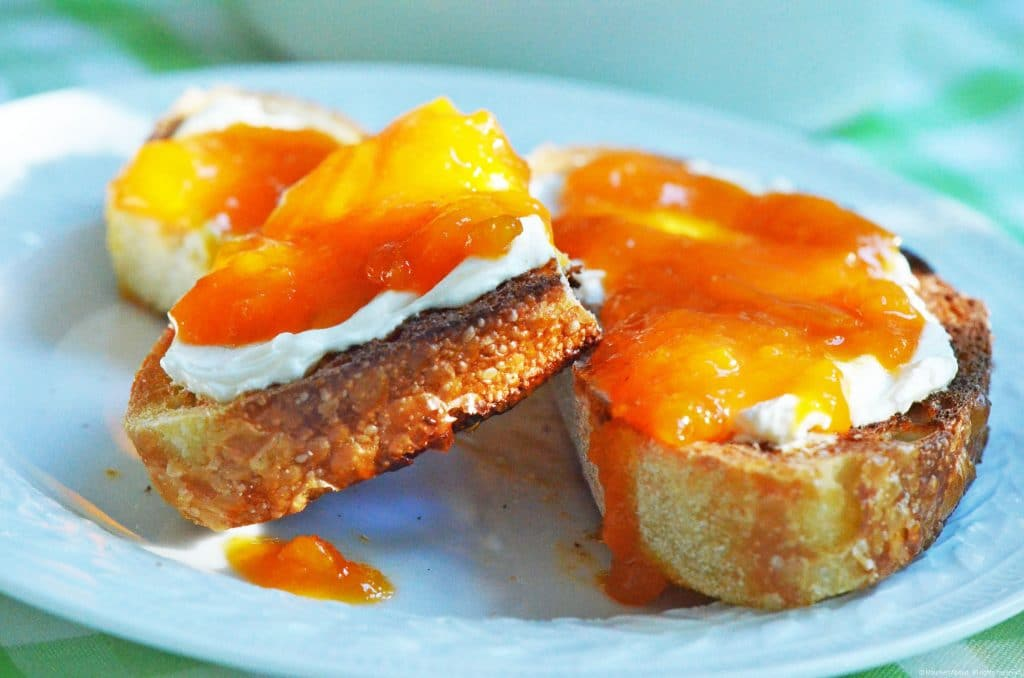 Homemade Apricot Jam on toast with labneh