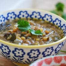 Garlicky Lebanese Lentil Soup with Swiss Chard and Lemon; dressed up Rushta