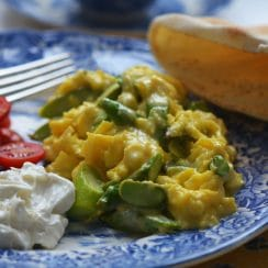 Soft scrambled eggs with asparagus, MaureenAbood.com
