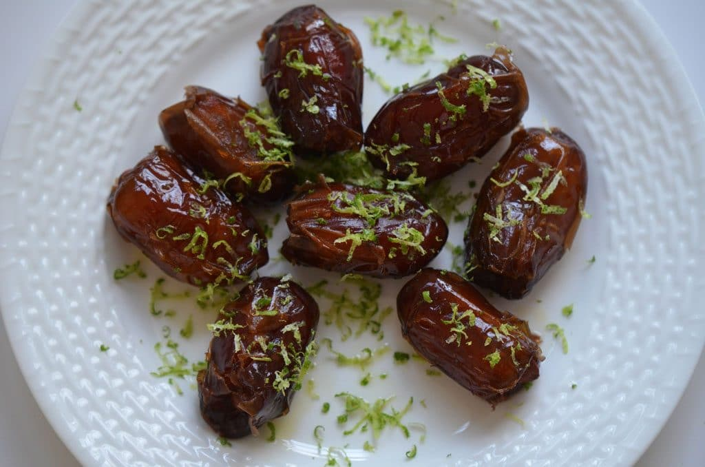 Warm Almond Stuffed Dates with Lime Zest, MaureenAbood.com