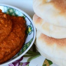 Roasted red pepper-walnut dip, Muhammara