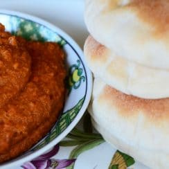 Muhammara, roasted red bell pepper dip with pita bread