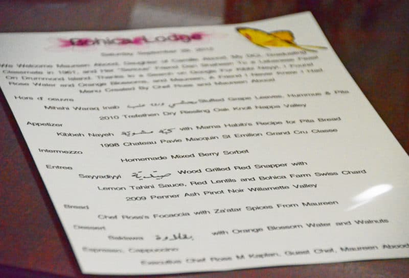 Bohica Lodge Lebanese Menu, way up north - Rose Water & Orange Blossoms