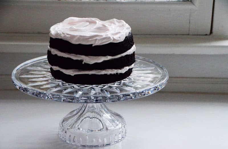 Chocolate cake, three iced tiers, Maureen Abood
