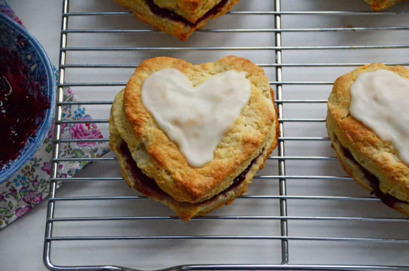 Raspberry heart scones with rose water glaze, Maureen Abood