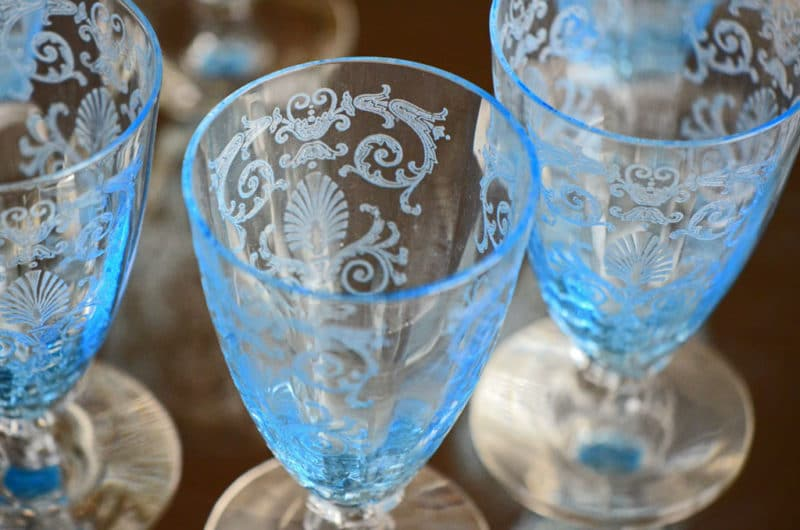 Favorite things etched fostoria glass rose water for Things to make out of glass