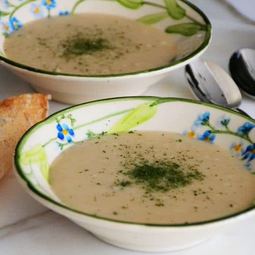 Kishk Soup with green herbs