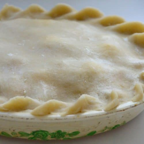 Raw pie crust top with fluted edge in a white pie plate with green trim