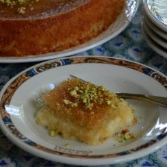 Knafeh on a plate with pistachios