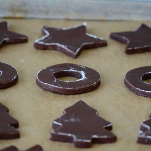 Chocolate cut out cookies on a sheet pan, MaureenAbood.com