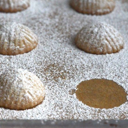 Ma'moul molded cookies with powdered sugar