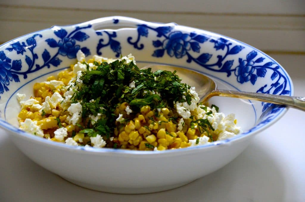 Grilled Corn Salad with Mint and Feta Recipe