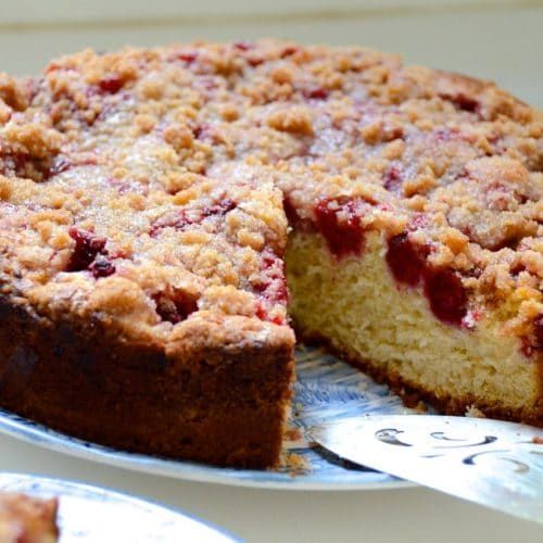 Raspberry crumb cake on a blue plate with cake server, Maureen Abood
