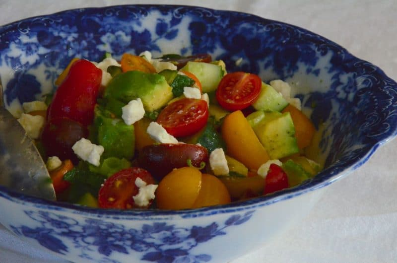 Avocado Tomato Salad with Feta, MaureenAbood.com