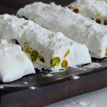 Nougat with Pistachios and Dried Cherries (low-fat, chewy goodness)