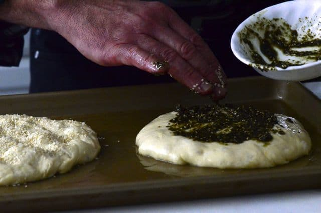 Zaatar on the dough, Maureen Abood