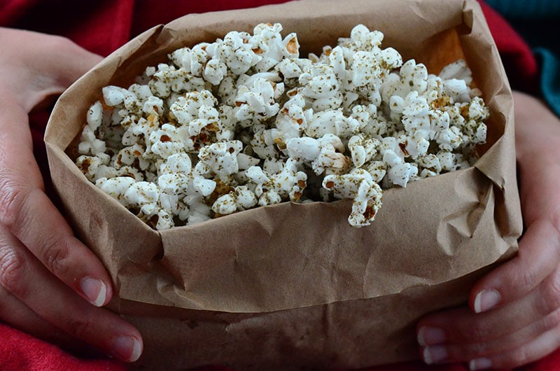 Zaatar popcorn in hand, Maureen Abood