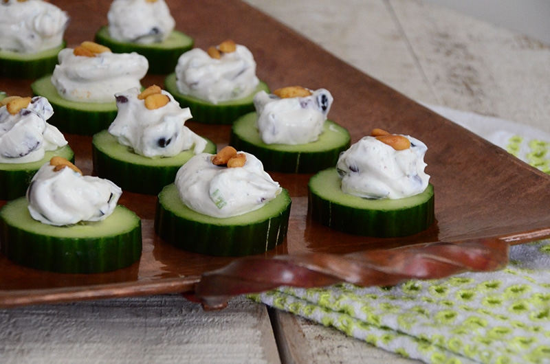 Cucumber bites on copper tray, Maureen Abood
