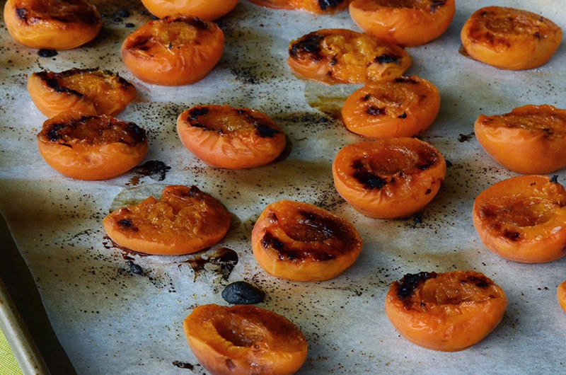 Broiled apricots on pan, Maureen Abood