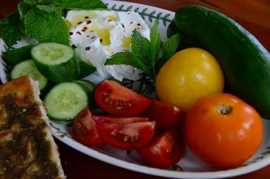 Lebanese breakfast with cucumbers, Maureen Abood
