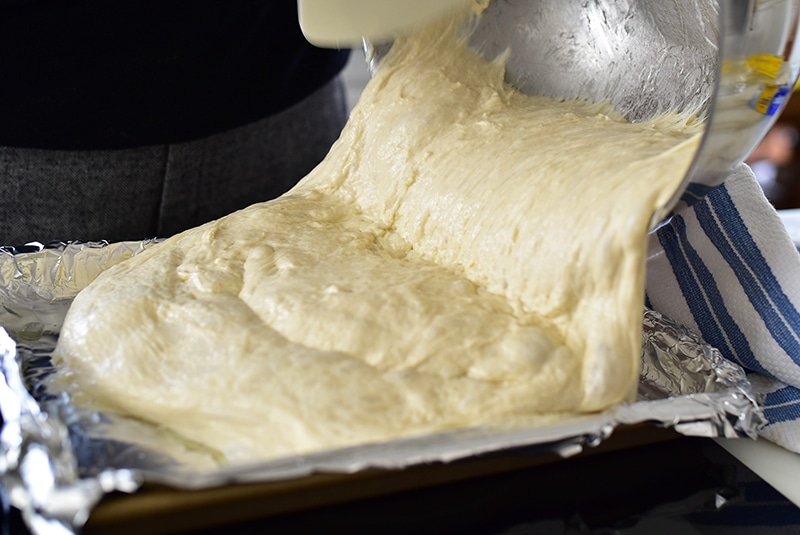 Talami dough in the pan, Maureen Abood