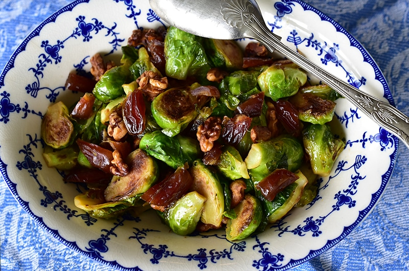 Brussels Sprouts with Dates and Walnuts. And a full report. - Rose Water & Orange Blossoms