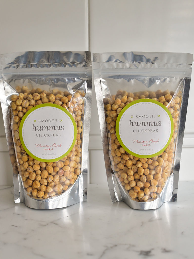 Skinless chickpeas in pouches on the counter
