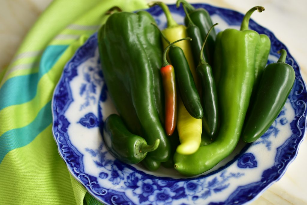 Green chili peppers arranged in a blue bowl