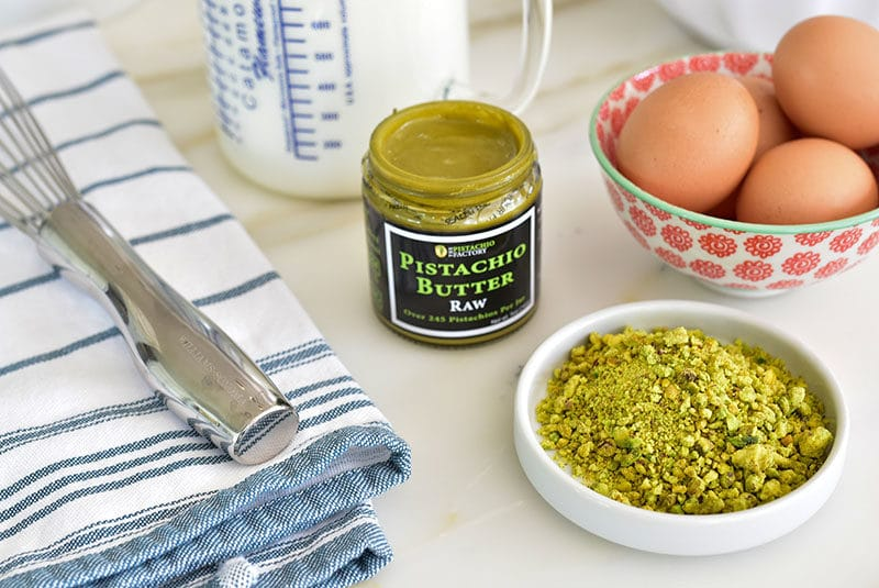 Ingredients for pistachio gelato: eggs, milk, cream pistachio butter, and crushed pistachios, MaureenAbood.com