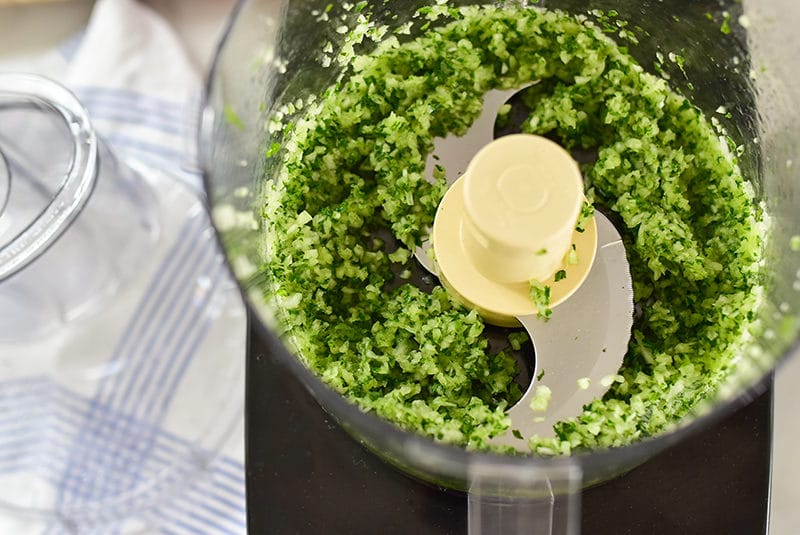 Herbs and onion in the food processor, Maureen Abood