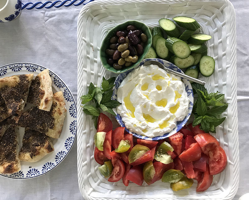 Lebanese breakfast with zaatar flatbread