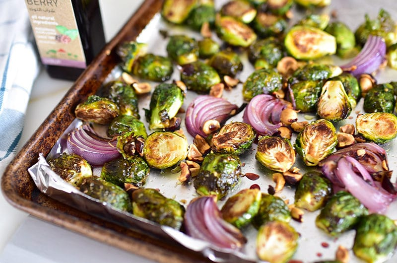 Roasted brussels sprouts with red onion, toasted hazelnuts, and mulberry syrup, MaureenAbood.com