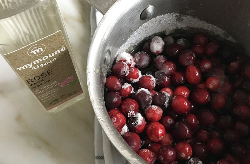 Cranberries with rose water