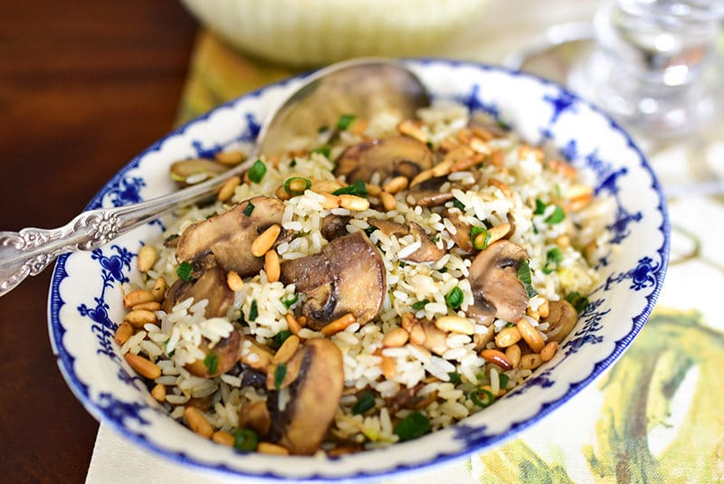 Lebanese rice with pine nuts and mushrooms, MaureenAbood.com