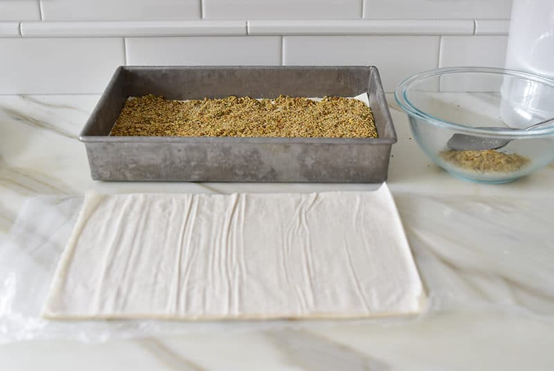 Phyllo and nuts for baklawa assembly, Maureen Abood