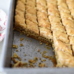 Nut-free baklawa in a pan, Maureen Abood