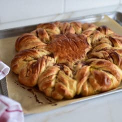 Baked brioche star with strawberry rose jam, Maureen Abood