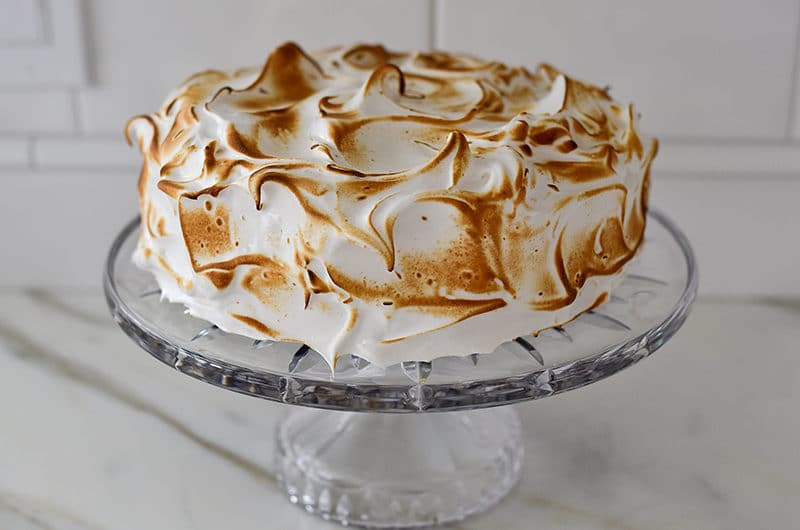 Toasted Marshmallow frosting over a chocolate caramel cake, Muareen Abood