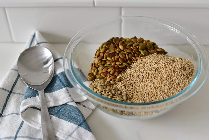 Seeds in a bowl for nut-free baklawa