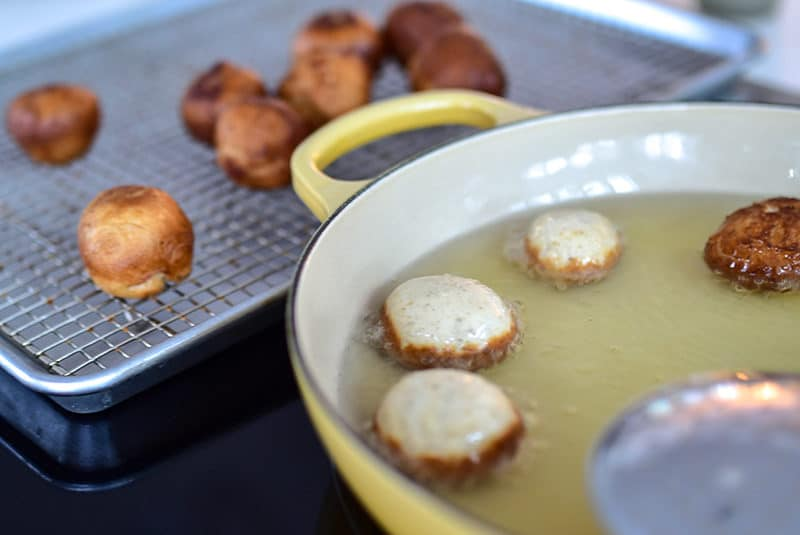 Lebanese zalabia donuts in the frying pan