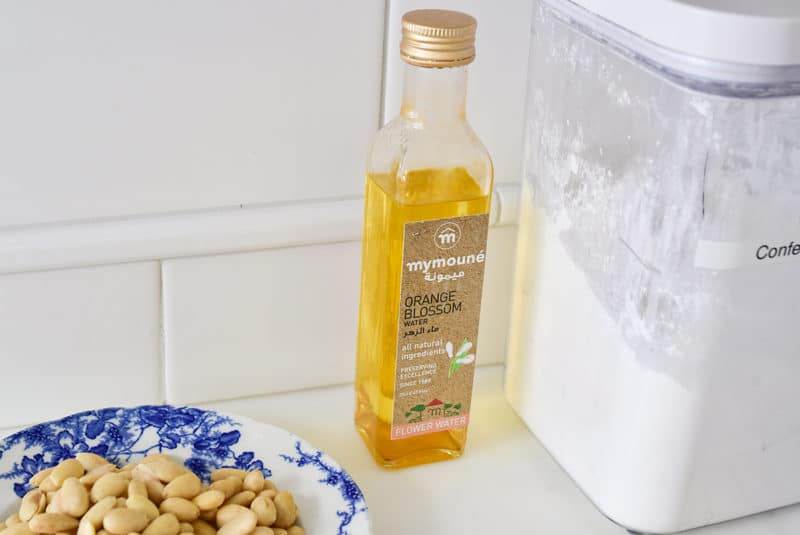 Lebanese orange blossom water on the counter for baking