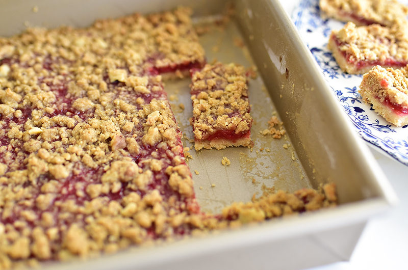 Strawberry bars in a baking pan