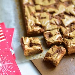 Blondie bars with orange blossom caramel