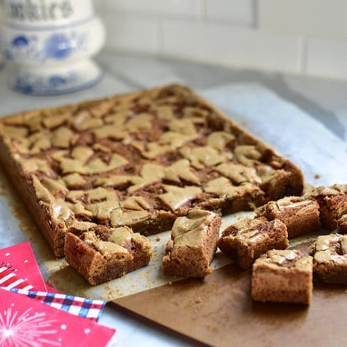 Blondies cut into bars