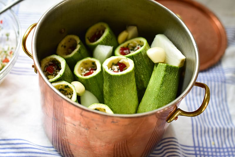 Vegetarian stuffed koosa in a pot