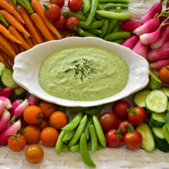 Labneh Green Goddess with crudite platter