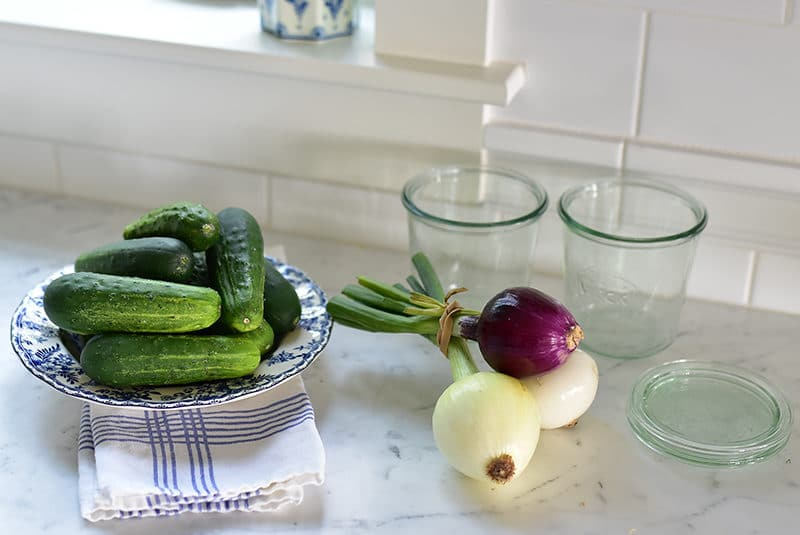 Cucumbers and onions for sweet pickles