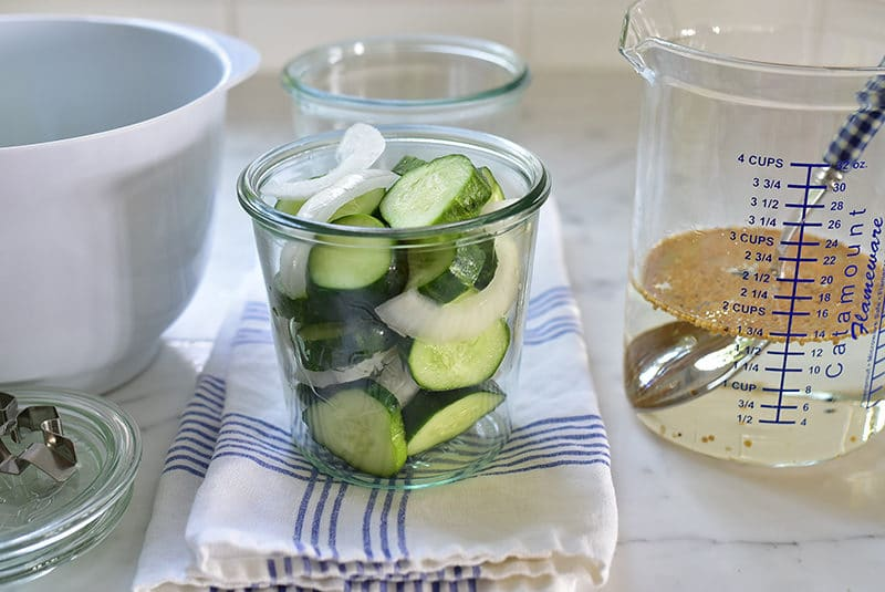 Bread and butter pickles with cucumbers and onions