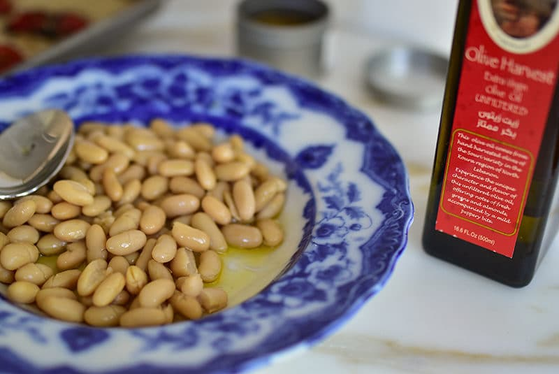 White beans drizzled with good olive oil